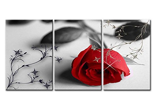 Canvas Print Wall Art Painting For Home Decor Still Life Of Love Red Rose Flower On Black And White Background With Vintage Elements 3 Pieces Panel Paintings Modern Giclee Stretched And Framed Artwork The Picture For Living Room Decoration Flower (Rose Flower Picture)