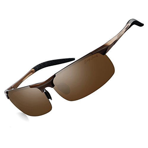 GREY JACK Lightweight Al-Mg Alloy Metal Half-Frame Polarized Sports Sunglasses Large for Men Women Brown
