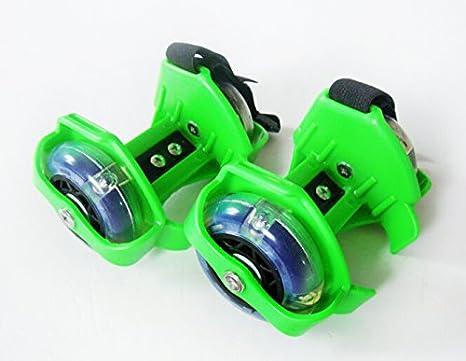 Nuevos Flashing Rollers Ruedas de patines para zapatos Moda Guay (VERDE)