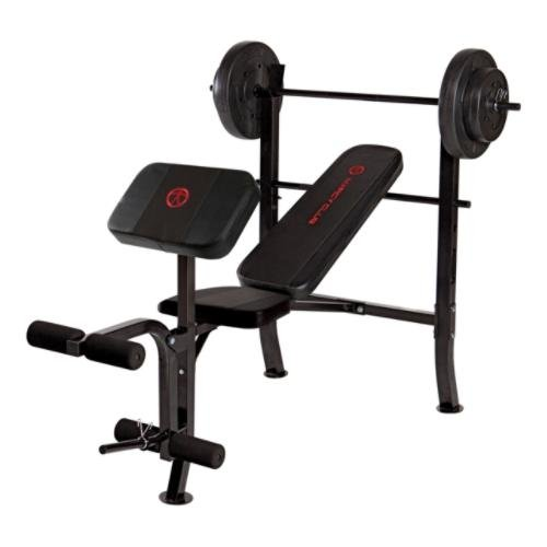 Marcy OPP Standard Bench with 80 lb Weight Set, Black Black , OS
