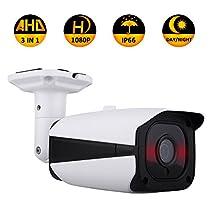 2.0MP 3 in 1 (AHD/TVI/CVI) IR Night Vision HD 1080P Surveillance Analog Camera 3.6mm Lens ICR auto Day Night Wide Angle Outdoor/Indoor IP66 Surveillance CCTV Camera