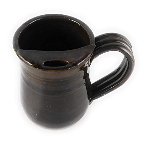 Moustache Cup (Aunt Chris' Pottery - Hand Made Clay - Right Handed Large Drinking Mug (Cup) With Mustache Guard - Dark Brown Glazed - Mug With Comfortable Loop Handle)