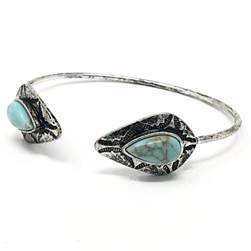 Faux Turquoise Etched Tip Cuff Bracelet BLSB331C2