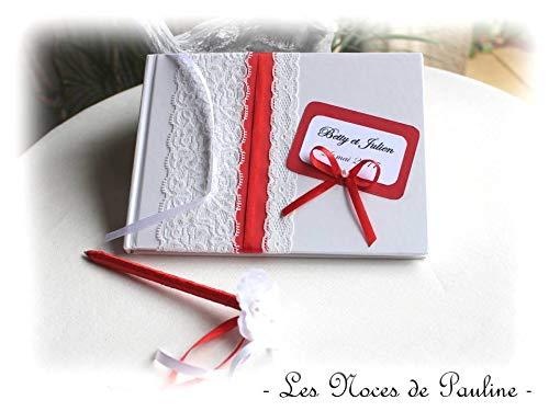 Livre D Or Mariage Rouge Et Blanc Dentelle Pm Et Son Stylo