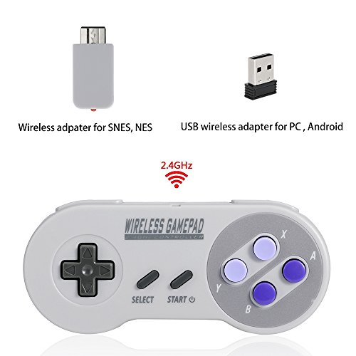 Wireless Controller for Super SNES Classic&NES Classic, HonWally 2.4GHz USB Gamepad for PC Mac. Double Wireless Adapter (1 PACK)