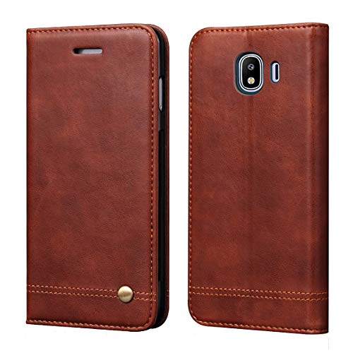 Galaxy J6 2018 Case,Galaxy On6 2018 CaseRUIHUI Classic Leather Wallet Folding Flip Protective Shock Resistant Case Cover with Card Slots,Kickstand Magnetic Closure for Samsung Galaxy J6 2018(Brown)