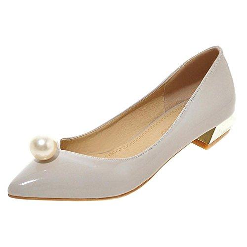 TAOFFEN Women's Slip On Court Shoes Block Heel Grey-01 riD18VvTp