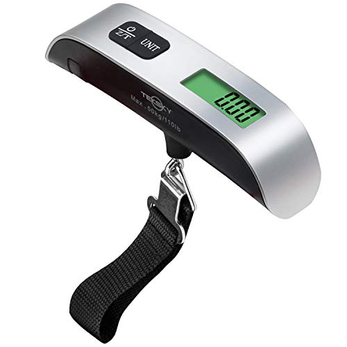 TekSky Digital Hanging Luggage Scale for Traveling - 110 Lbs Baggage Scale with Back-light LCD Display and Temperature Sensor