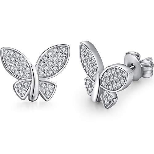 - Butterfly Earrings for Women 925 Sterling Silver Hypoallergenic Butterfly Stud Earrings Gemstone Butterfly Stud Earrings Beautiful Butterfly Jewelry Post Earrings Cubic Zirconia Butterfly Earrings for