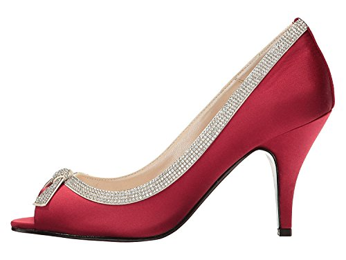 (Caparros Womens Glow Peep Toe Classic Pumps, Ruby Satin, Size 7.5)