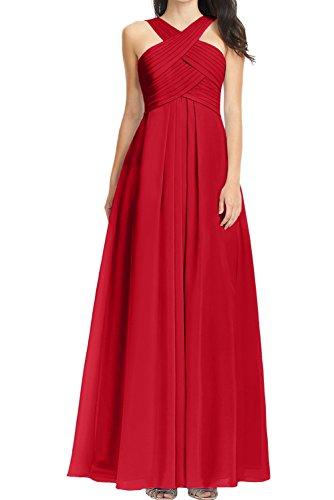 Chiffon Linie aermellos Abendkleid Partykleid Ivydressing Lang Falte Rueckenfrei Ballkleid Damen Rot Festkleid A PcnPW0E