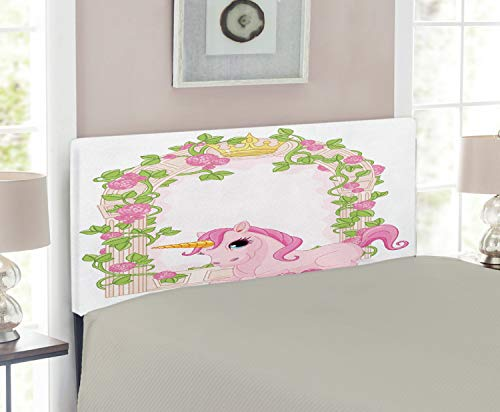 Magic Room Twin Headboard - Lunarable Teen Girls Headboard for Twin Size Bed, Romantic Floral Arch Frame with Roses Leaves Unicorn Magic Figure Illustration, Upholstered Decorative Metal Headboard with Memory Foam, Pink Beige