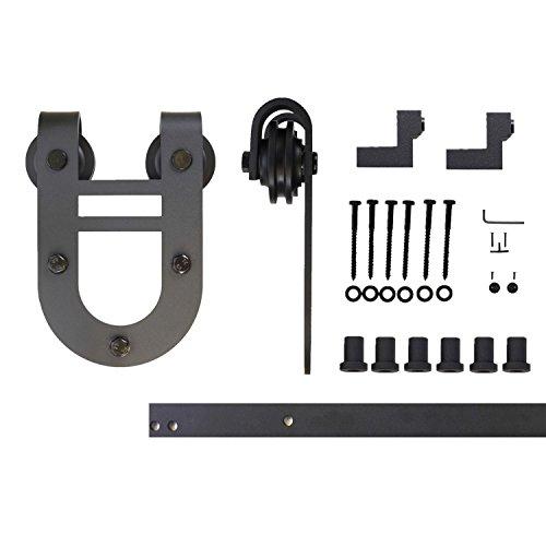 Vancleef 8FT Single Door Kit Sliding Barn Door Hardware, Horseshoe Design, Industrial Strength, Black Rustic, Interior and Exterior Use, With Quiet Glide Roller and Descriptive Installation Manual