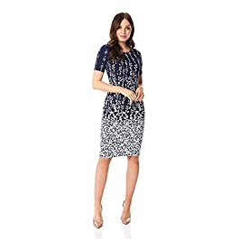 Roman Originals Women Abstract Floral Print Textured Shift Dress Ladies Bodycon Work Smart Office Business Occasion Pencil Fitted A Line Short Sleeve Round Neck Dress