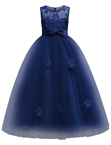 Blevonh Girls Sleeveless 3D Embroidery Flower Kids Pageant Prom Ball Gown Dress