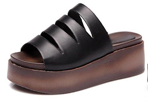 Verano cuesta gruesa de la corteza del mollete con sandalias de tacón alto de las mujeres y zapatillas grams