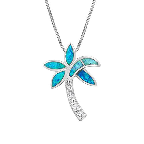 Sterling Silver Palm Tree CZ Necklace Pendant with Simulated Blue Opal and 18