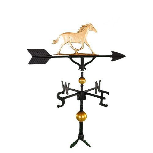 30 Horse Weathervane - Montague Metal Products 32-Inch Deluxe Weathervane with Gold Horse Ornament