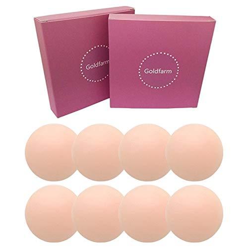 Nippleless Covers, Pasties, Silicone Reusable Breast Pasties Adhesive Bra 2 Pairs Round × 2 Packs