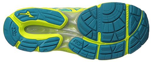 Mizuno Wave Catalizador de la mujer running Shoe Electric Green-Safety Yellow-Silver