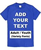 Custom T Shirts Heavy Comfort Add Your Own Text Message Cotton T Shirt [Adult/RoyalBlue/3XL]