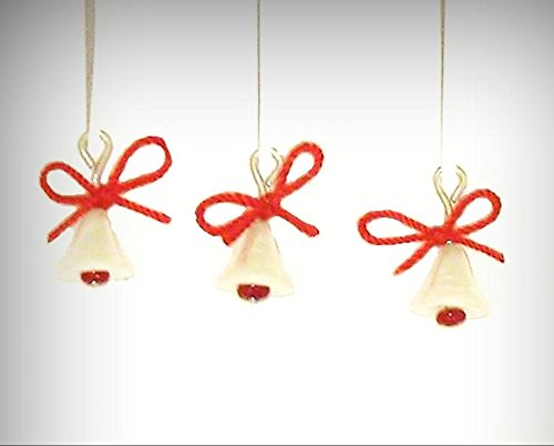 Bell Ladybug Ornaments (Dollhouse Christmas Ornaments Pearly White Bells with Red Bows 1:12 Miniature - My Mini Garden Dollhouse Accessories for Outdoor or House Decor)