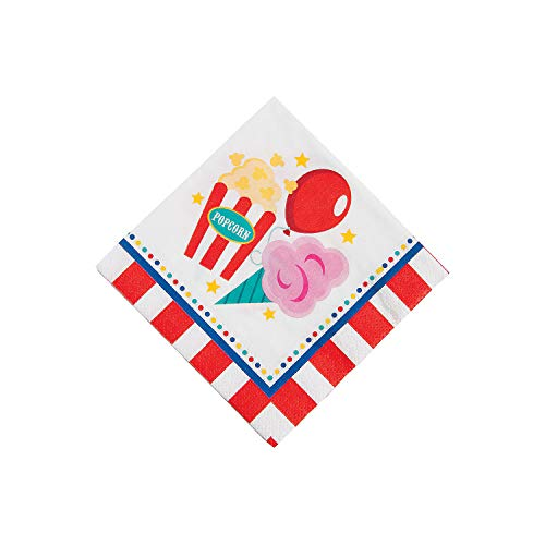 Fun Express - Carnival Beverage Napkins for Birthday - Party Supplies - Print Tableware - Print Napkins - Birthday - 16 Pieces -