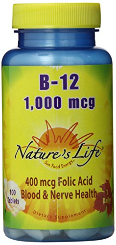 Nature's Life B-12 , 1000 Mcg, 400 mcg Folic Acid Tablets, 100-Count  (Pack of 12)