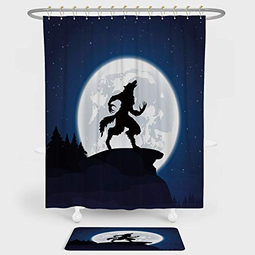 iPrint Wolf Shower Curtain And Floor Mat Combination Set Full Moon Night Sky Growling Werewolf Mythical Creature in Woods Halloween For decoration and daily use Dark Blue Black White ()