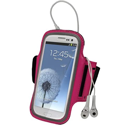iGadgitz Pink Reflective Anti-Slip Neoprene Sports Gym Jogging Armband for Samsung Galaxy S3 III i9300 Android Smartphone Cell Mobile Phone (Compatible with all carriers incl AT&T, Sprint Nextel, T-mobile & Verizon (Nextel Phone Touchscreen)