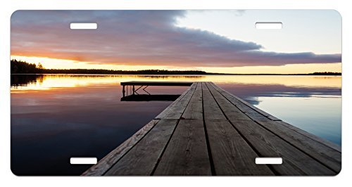 zaeshe3536658 Landscape License Plate, Serenity Relaxing Themed Port Pier Wooden Rustic Image of Dawn Sunset in Lake Art, High Gloss Aluminum Novelty Plate, 6 X 12 Inches. by zaeshe3536658