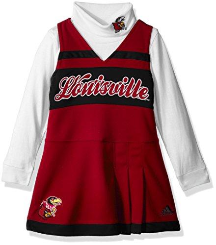 Outerstuff NCAA Louisville Cardinals Girls 4-6X Turtleneck Cheer Jumper Dress, Small (4), University Red
