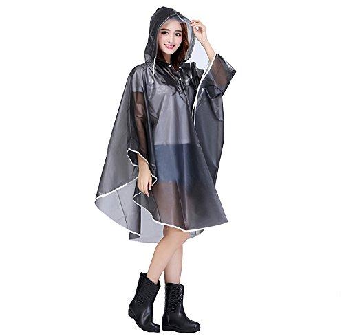 (Aircee Lady's Hooded Raincoat Poncho Long Rainwear Packable Sleeveless Waterproof Ventilate (Grey))