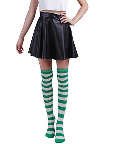 HDE Women's Green and White Striped Socks Over Knee High Extra Long Stockings]()