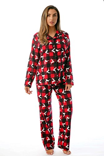 #followme Printed Flannel Button Front PJ Pant Set 6371-10322, Reindeer Buffalo Plaid, 2X Plus ()