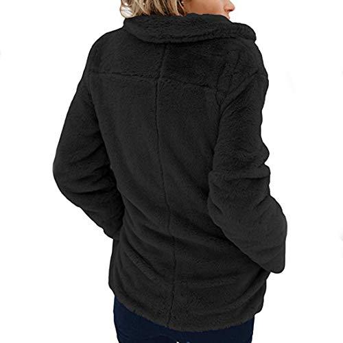 Sleeve Winter Front Outerwear Women's Coat Fleece Open Black Pocket Long Jacket Warm XOWRTE with 0nxpAYCwqw
