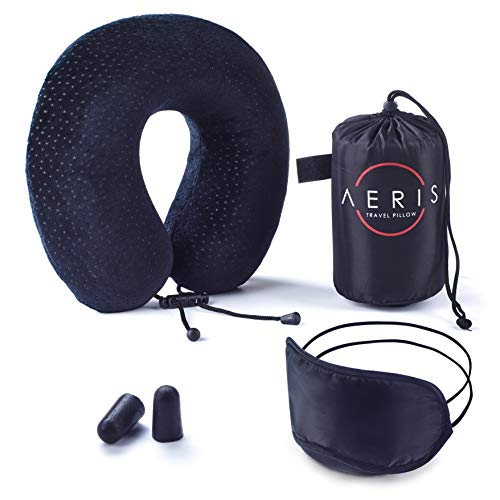 AERIS Travel Pillow Restful Sleep on an Airplane,Memory Foam Neck Pillow Airplane Travel,Cool Plane Accessories Long Haul Flights,Easy to Carry Bag to Save Space,Ear Plugs Eye Mask