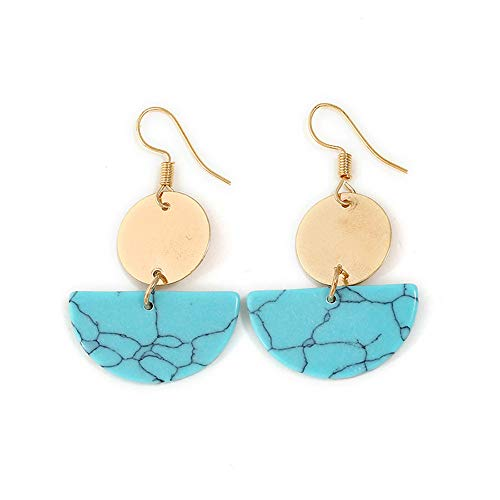 Carood Bohemian Charming Fashion Bohemian Marble Folk Style Semicircular Round Earrings Jewelry For Girls ()