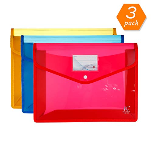 HC Eco-Friendly Plastic File Folders A4 Plastic File Wallet Poly & Oxford Expandable Envelope Folder with Snap Button Closure, Durable Waterproof Great for Office Home School - Red, ()