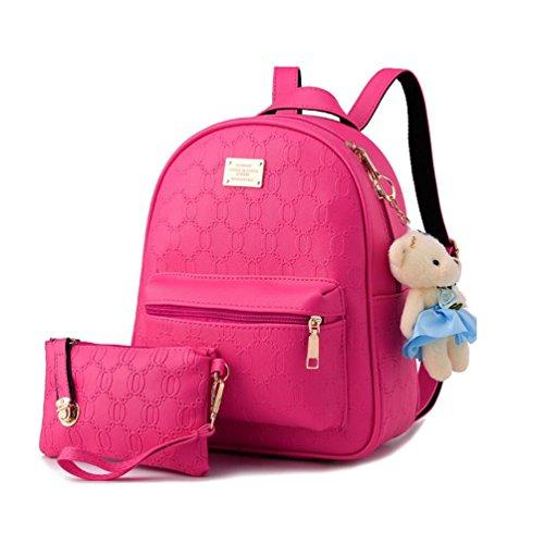 XibeiTrade - Bolso mochila  de Material Sintético para mujer rosa (b)