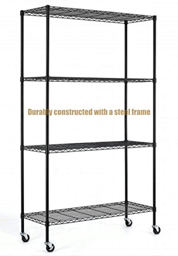 Dance Costumes Australia Sydney (Durable Constructed 6-Tier Steel Shelving Storage Organizer Adjustable With Castor Wheels - Black Finish #1167)
