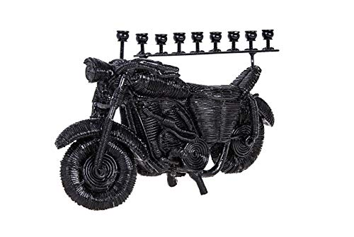 Copa Judaica Black Motorcycle Chanukah Menorah - for Standard Hanukah Candles - Fun Novelty Motor Bike Design - 8.5