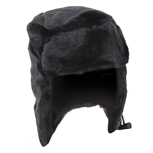 - Unisex Black Faux Fur Thermal Trapper/Ski Hat With Toggle (23.2 inches) (Black)