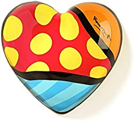 Romero Britto *New* Heart Shaped Paper Weight- Red W/Yellow Dots