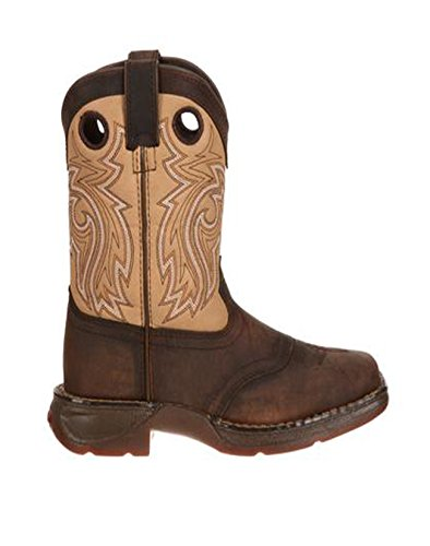 Durango Kid's Western 8'' Saddle Square Toe Boots, Brown Leather, 9.5 Toddler M