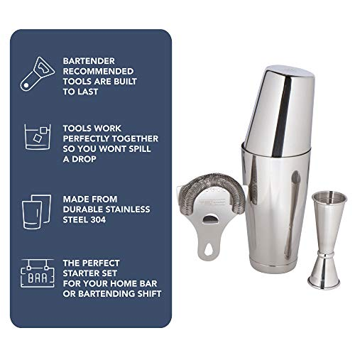 Boston Shaker Set Professional two-piece Stainless Steel Cocktail Shaker set with Hawthorne Strainer and Japanese Jigger