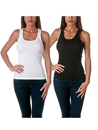 Sofra Women's Tank Top Cotton Ribbed 2 Pack Deal(Black/White-1X)