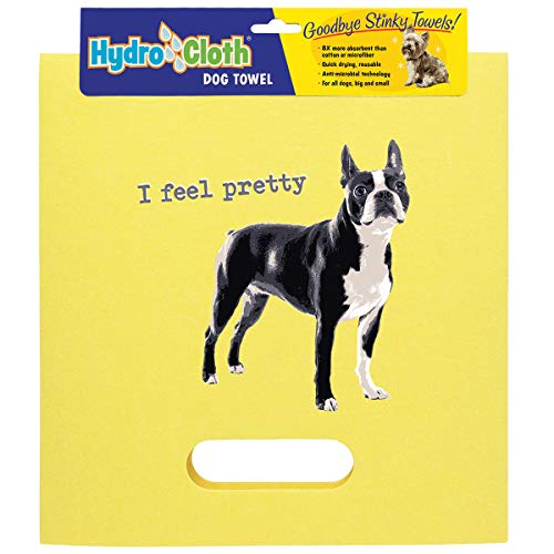(Hydro Cloth Dog Towels | 12 Dog Breed Designs | Multi Purpose Cleaning Towel | Super Absorbent Natural Materials Cellulose & Cotton | Goodbye Stinky Dog Towels! (Yellow, Boston Terrier))