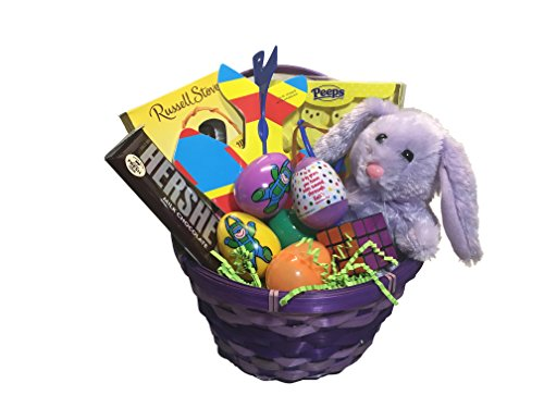- Purple Easter Basket for Girls - Includes Hershey Chocolate, Russell Stover Chocolate, Peeps, Fun Toys, and a Cuddly Plush Bunny
