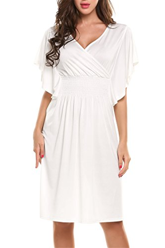 Meaneor Women's Casual V-neck Short Batwing Sleeve Smocked Empire Waist Dress Wine White XL (Dresses Smocked Empire)